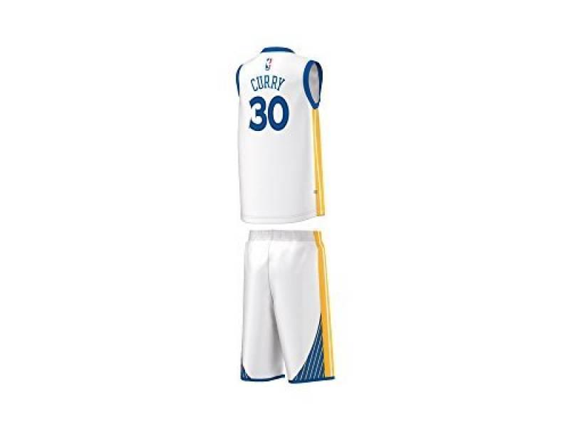 7db675e7540bd Adidas - Maillot et short NBA Stephen Curry Golden States Warriors Blanc pour  Enfant et junior